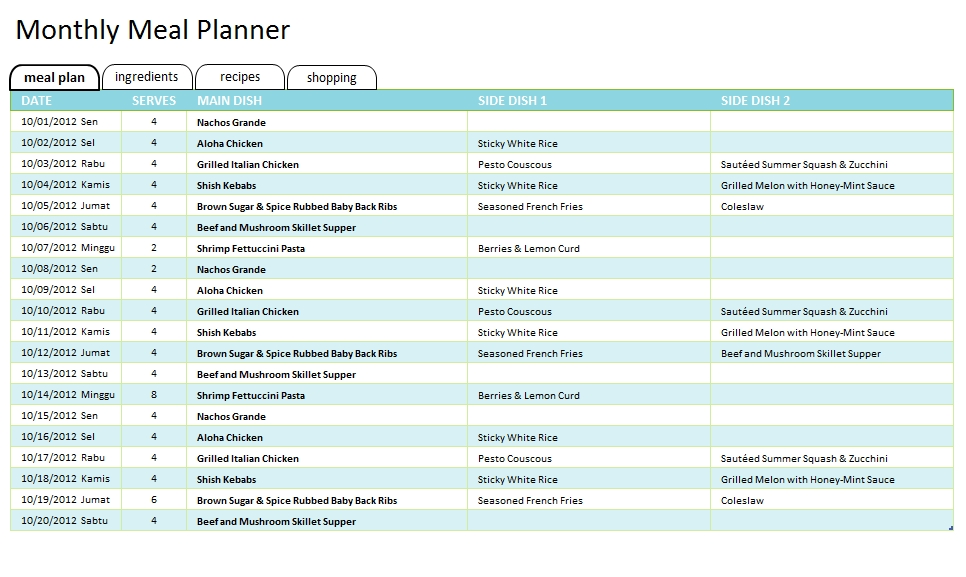 Meal Plan Template 39