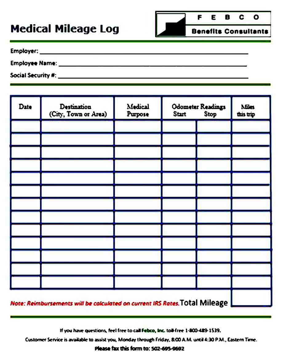 Medical Mileage Log templates