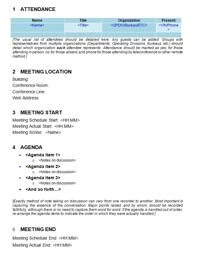 Meeting Minutes Template 07