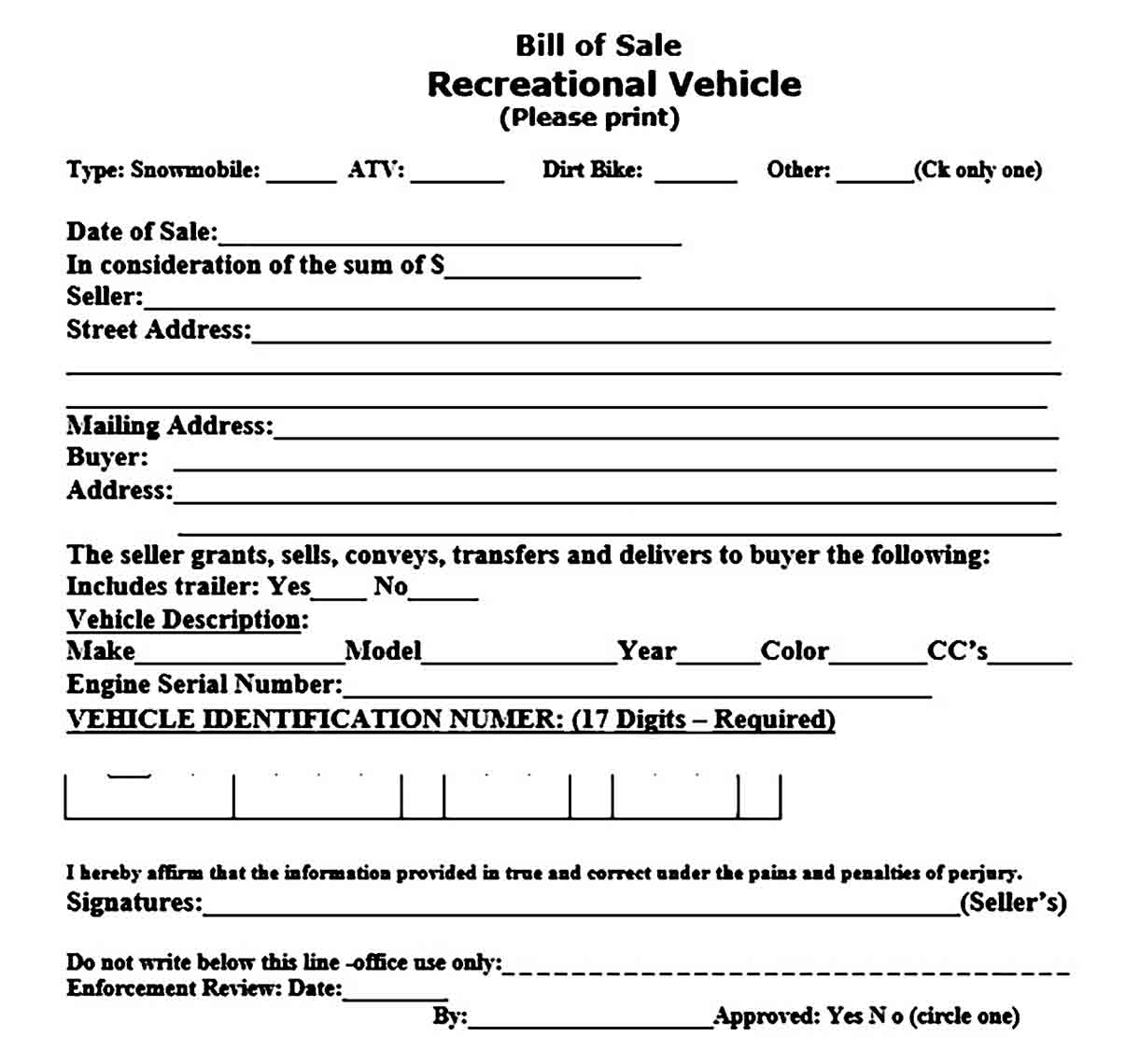 Motorcycle Bill of Sale templates
