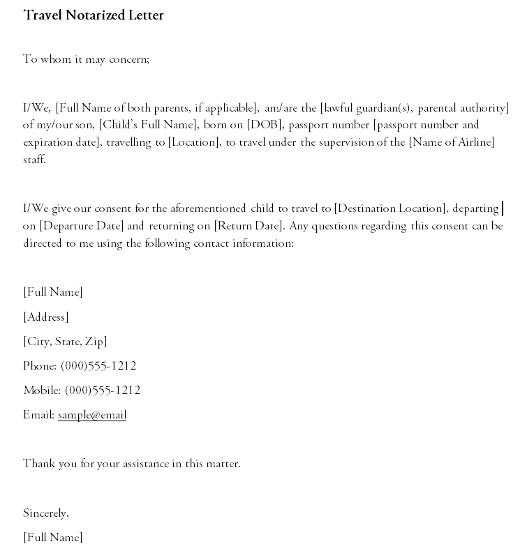 Notarized Letter Template 12