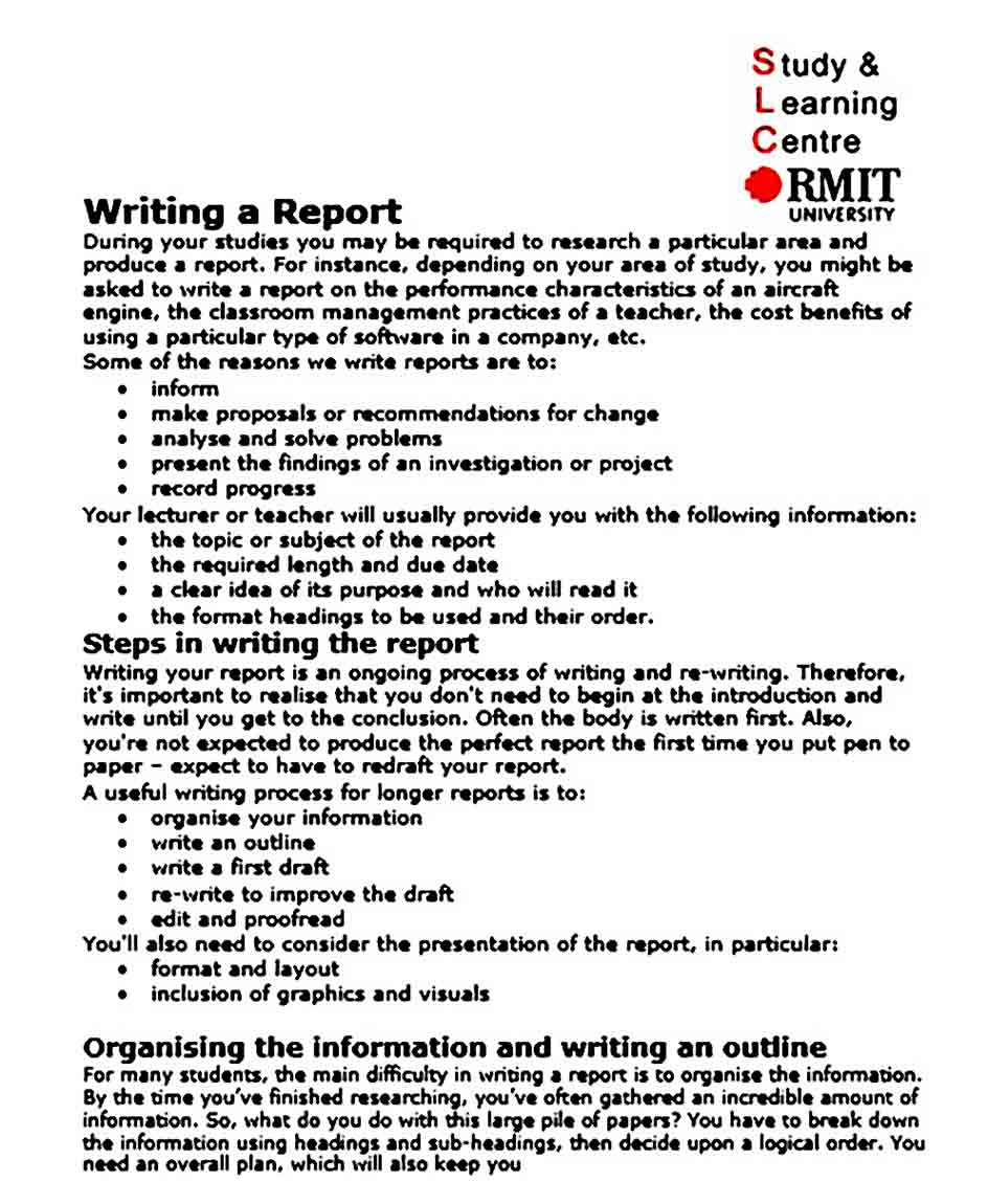 Official Report Writing Format