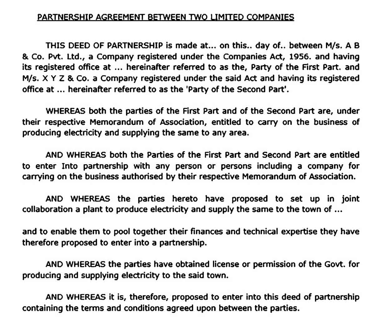 Partnership Business Agreement Between Two Parties