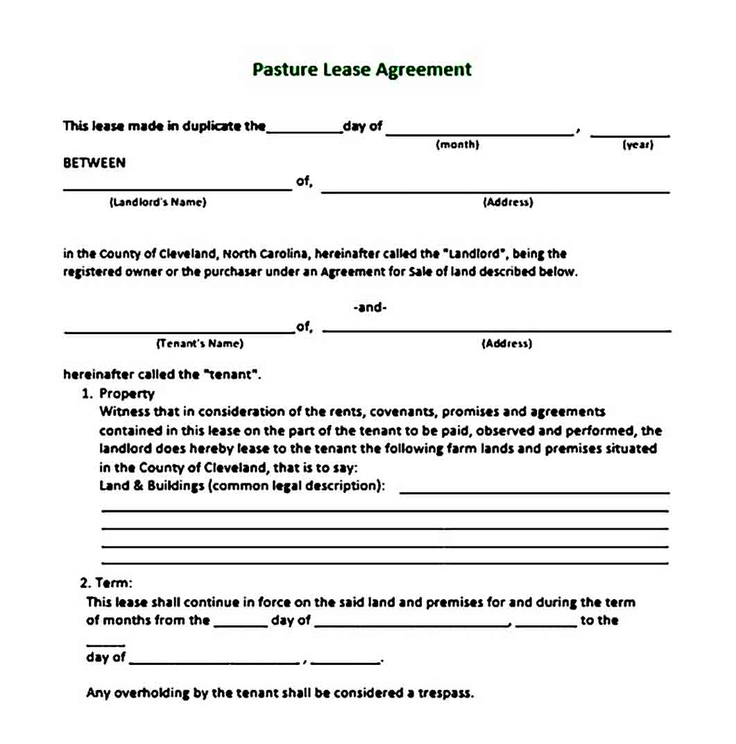Pasture Land Lease Agreement