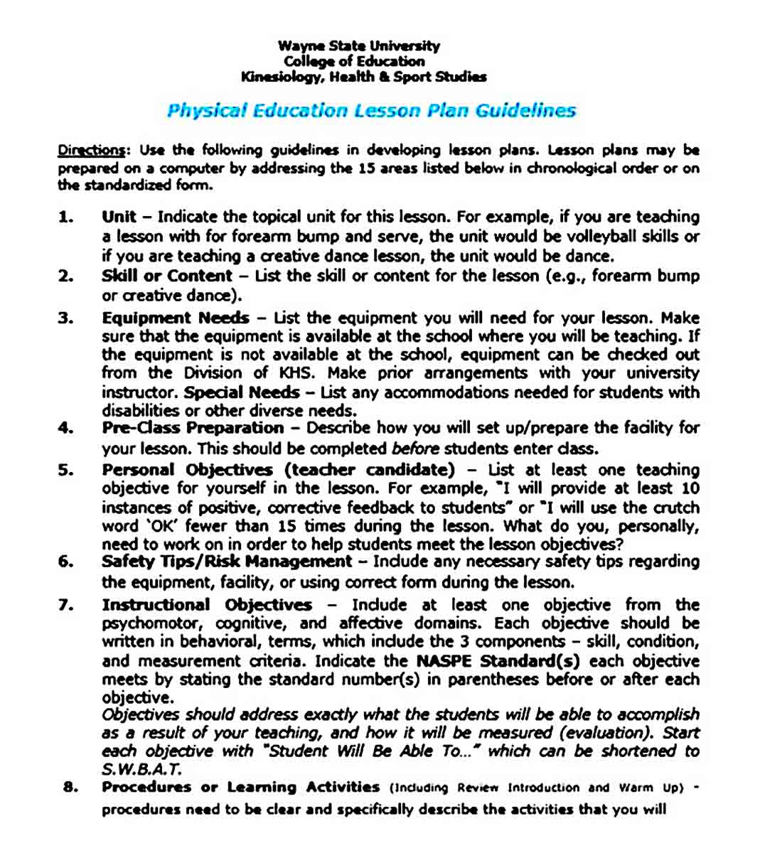 Physical Education Lesson Plan templates Guidelines