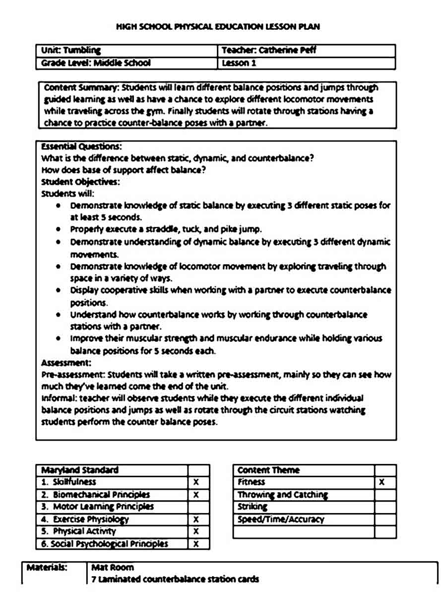 Physical Education Lesson Plan templates Word