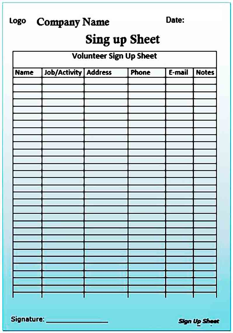 Printable Sign up Sheet templates