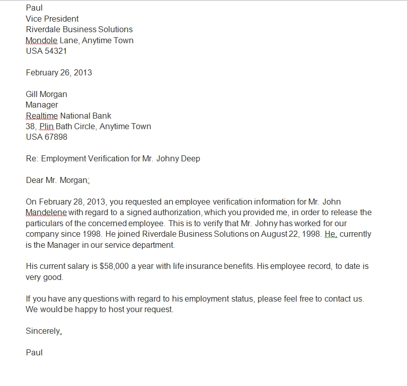 Proof of employment letter 10