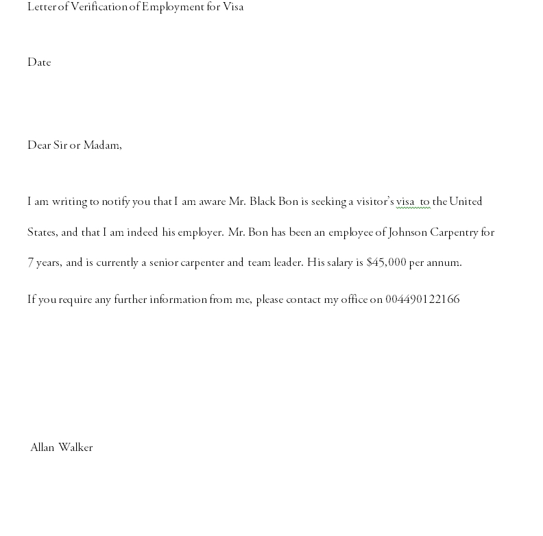 Proof of employment letter 13