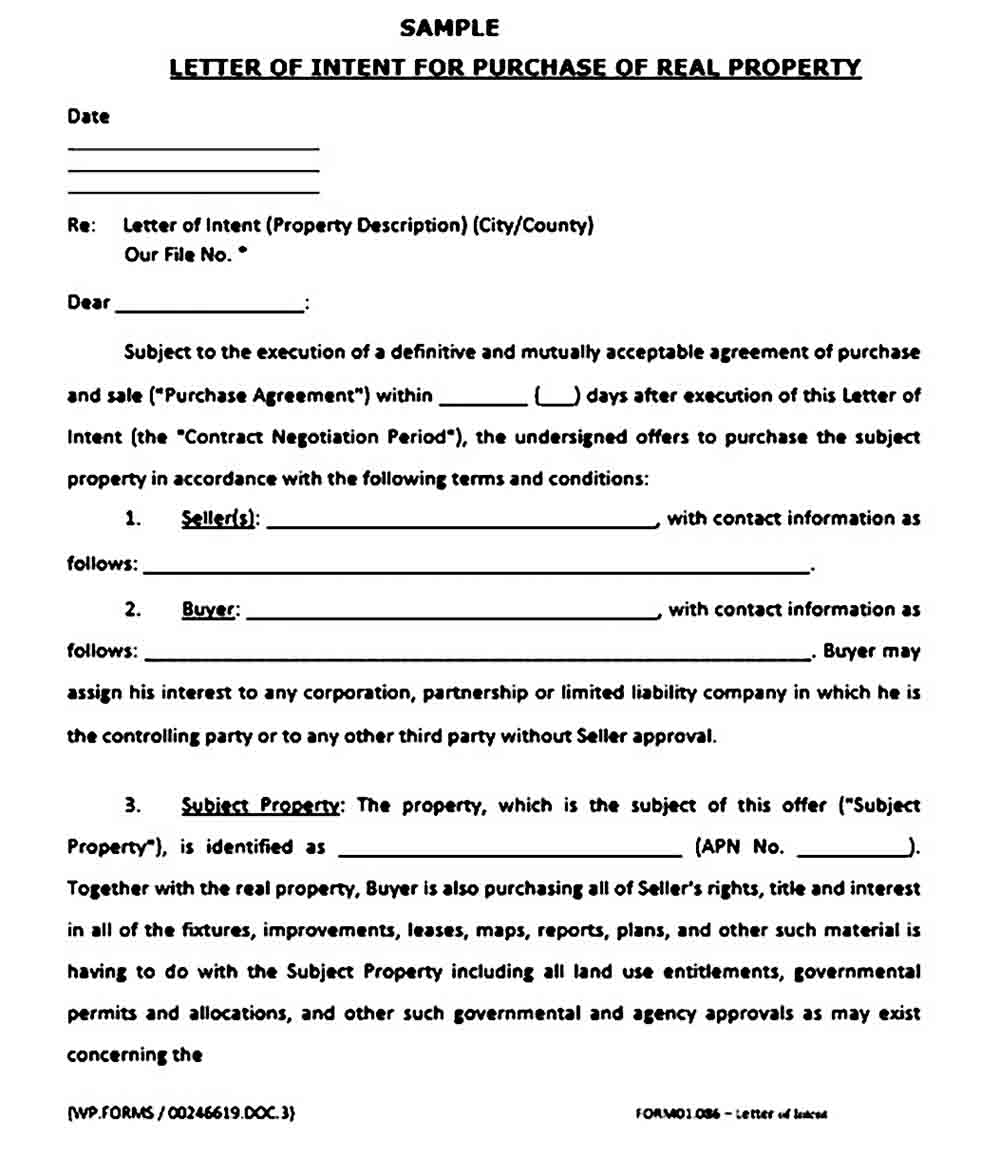 Real Estate Purchase Offer Letter