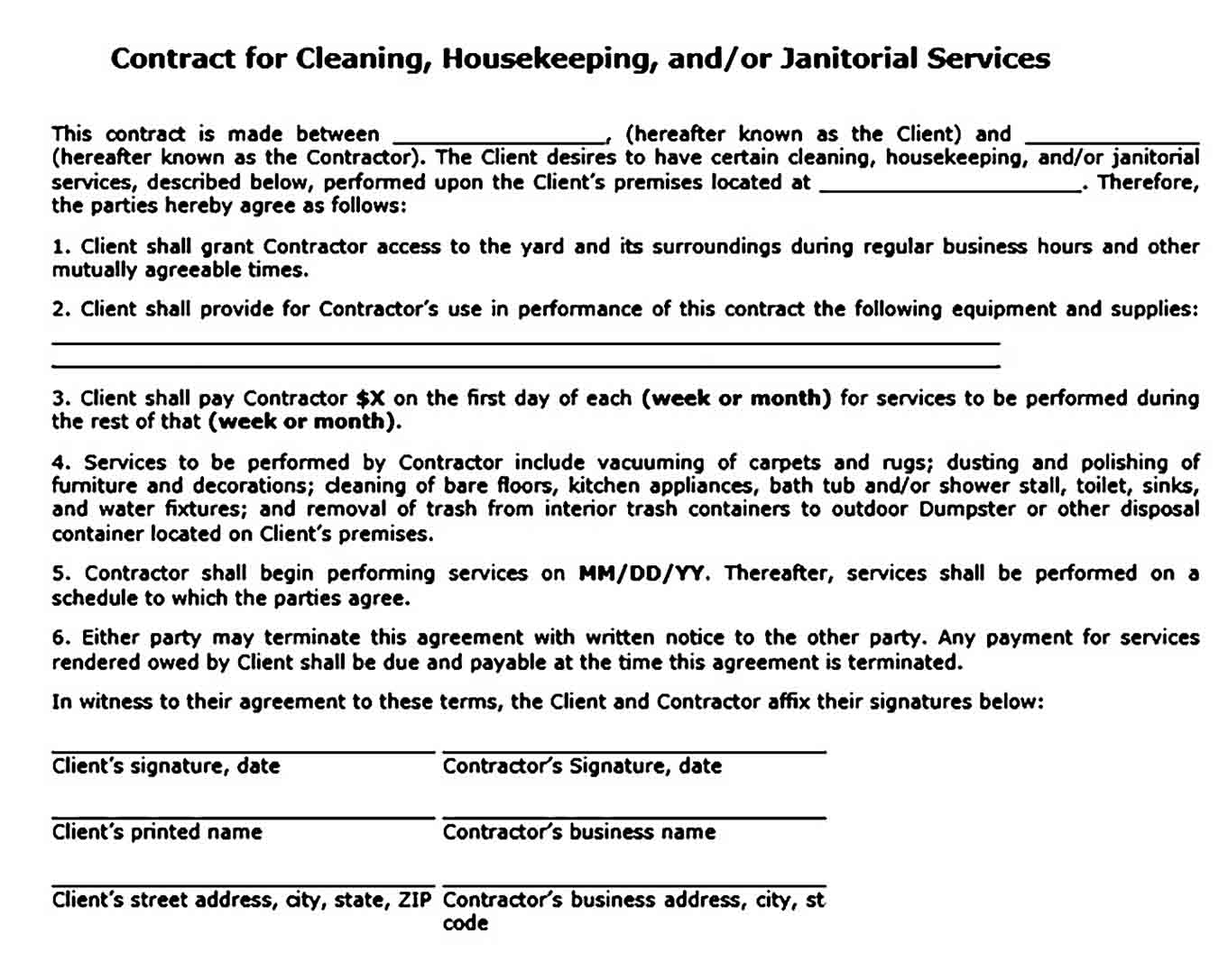 Residential Cleaning Contract Agreement
