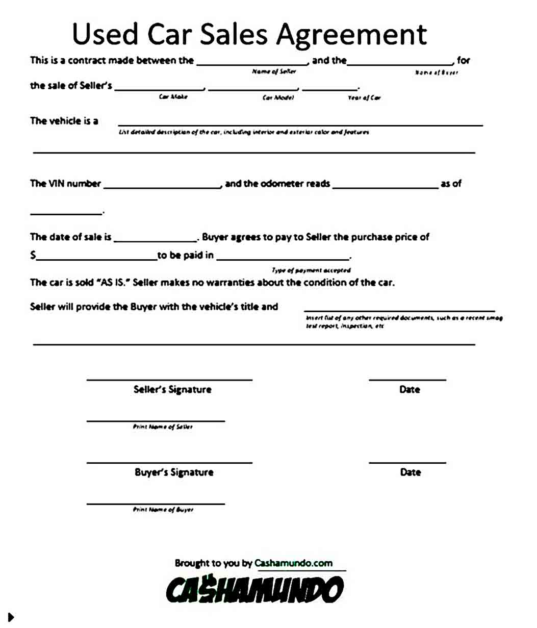 Sample Used Car Purchase Agreement