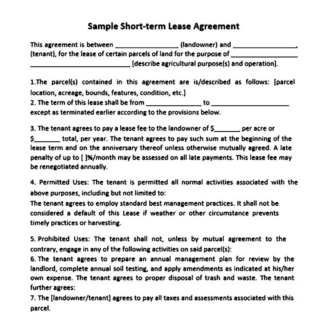 Short Term Land Lease Agreement