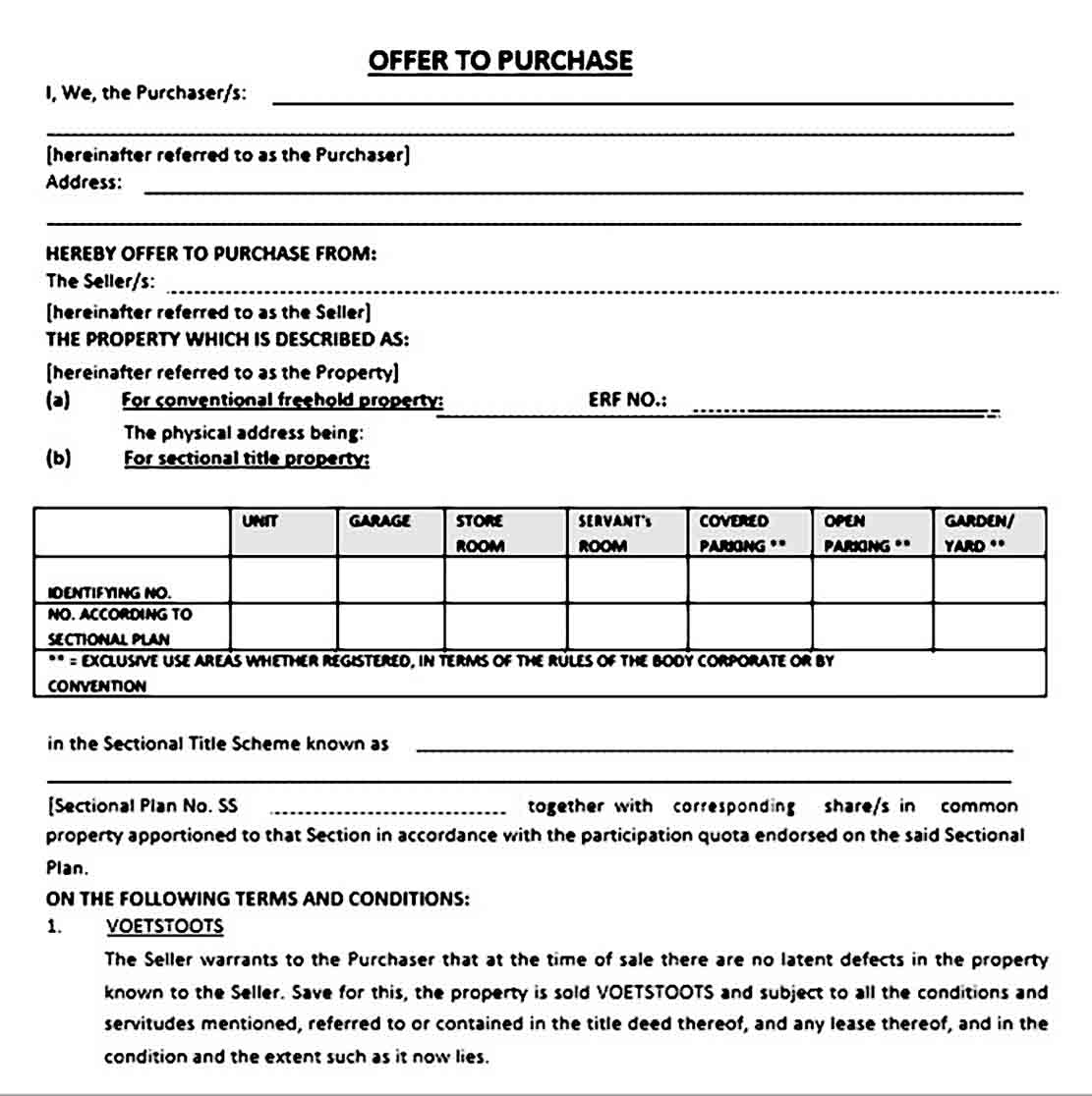 Simple Offer to Purchase Real Estate Form