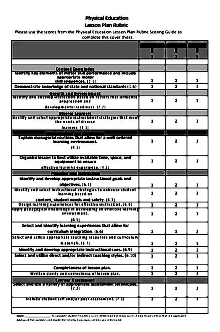 Simple Physical Education Lesson Plan templates