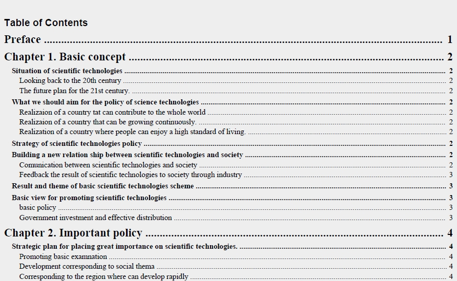 Table of Contents Template PDF 09