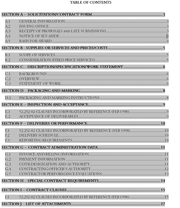 Table of Contents Template Word 07