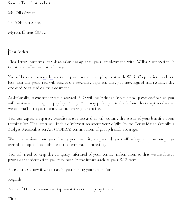 Termination Letter Template 04