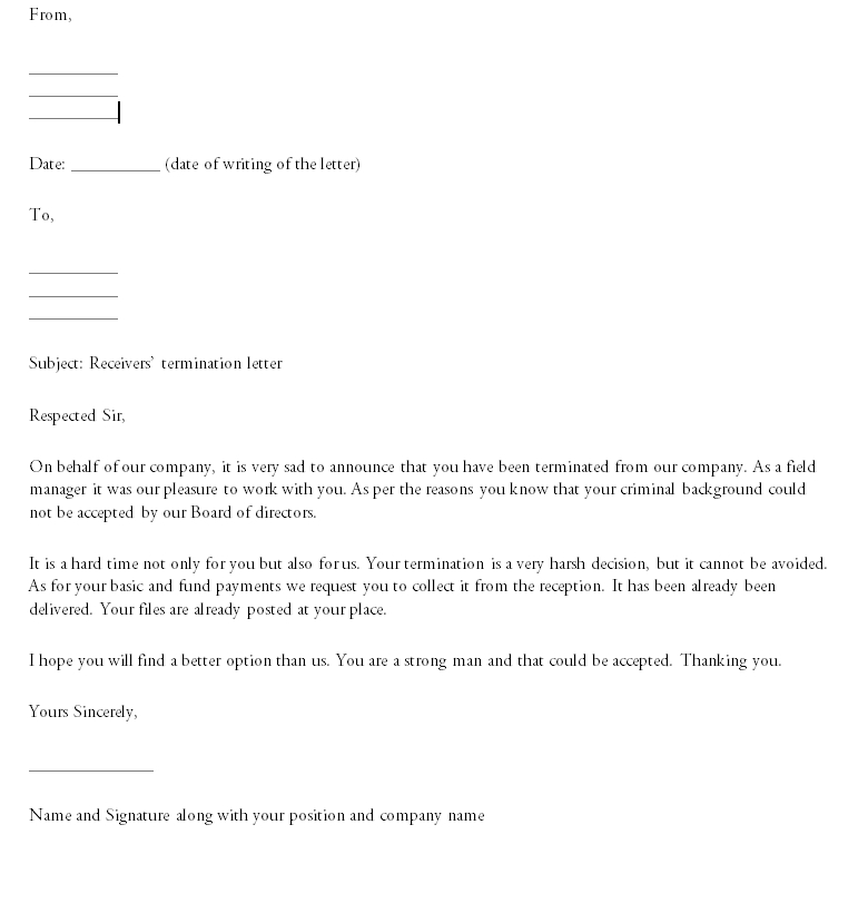 Termination Letter Template 05