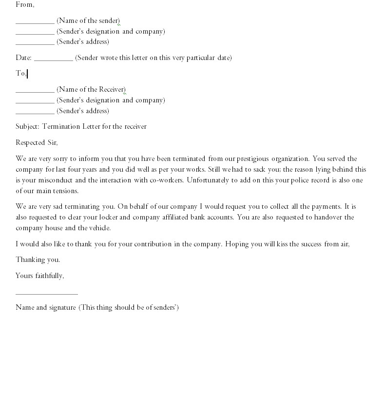 Termination Letter Template 06