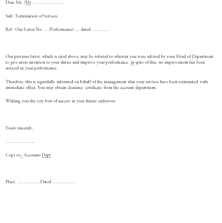 Termination Letter Template 10