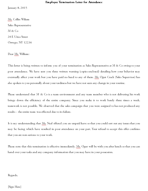Termination Letter Template 11