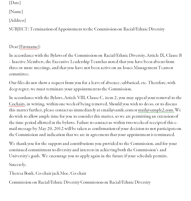 Termination Letter Template 13
