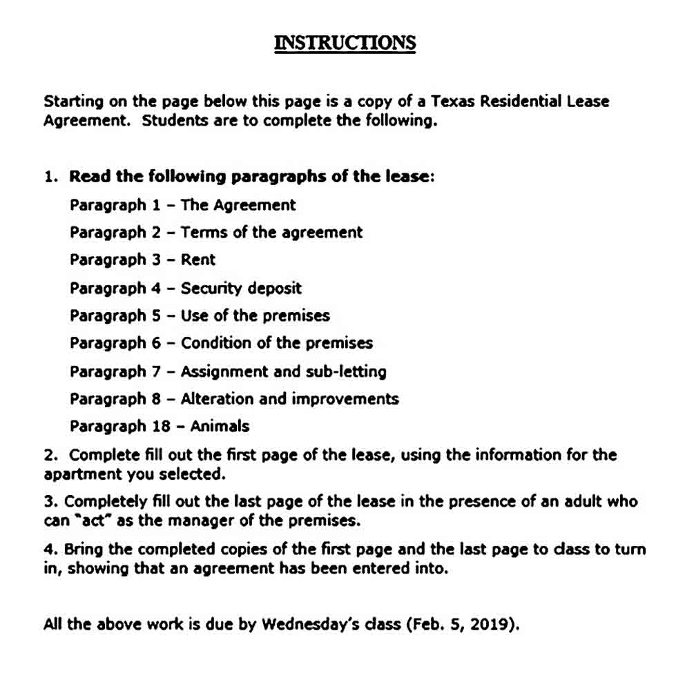 Texas Residential Lease Agreement Word Document 1