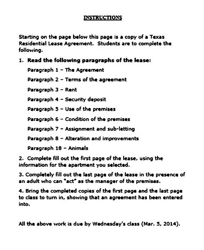 Texas Residential Lease Agreement Word Document