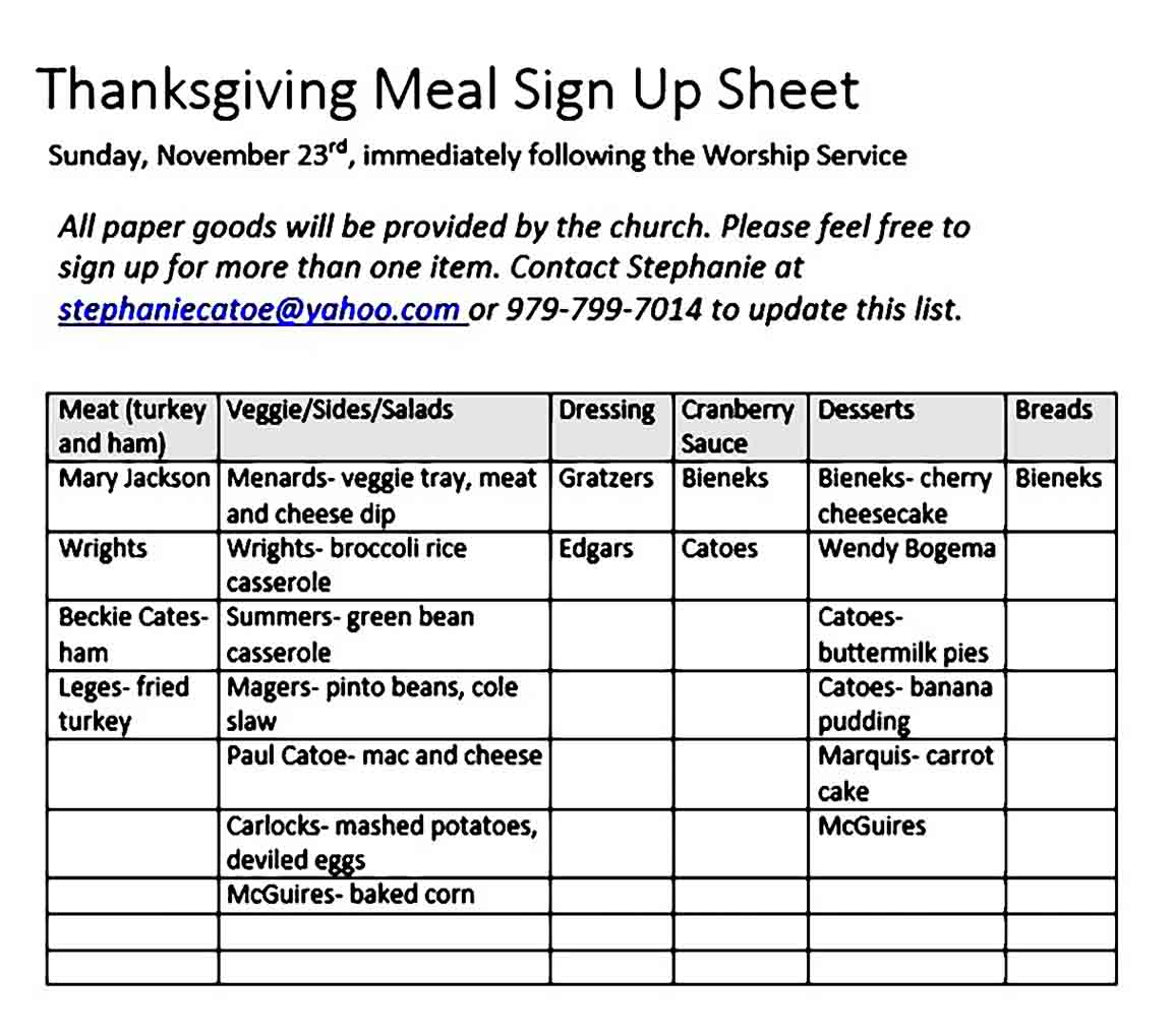 Thanksgiving Meal Sign Up Sheet templates