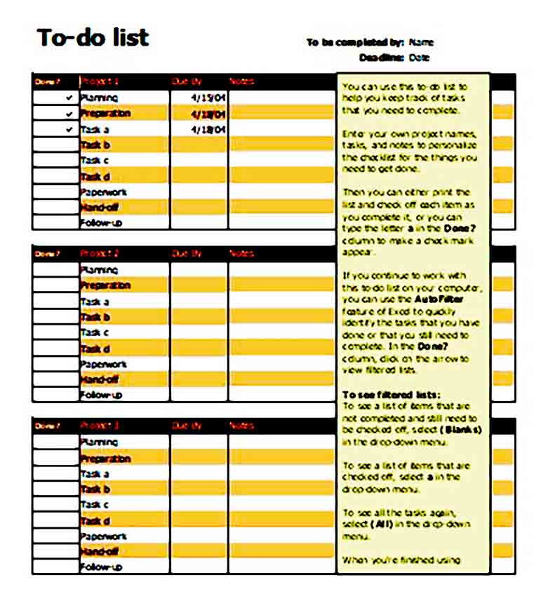 To Do List for Projects templates