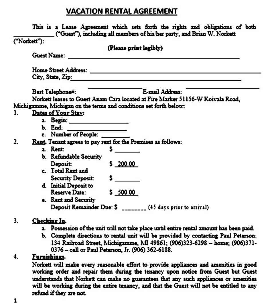 Vacation Rental Agreement 1