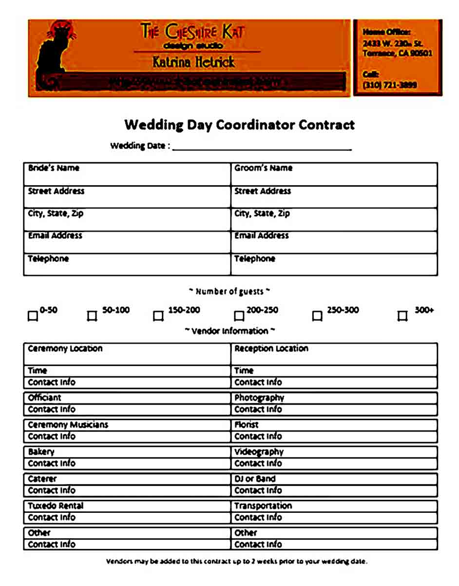 Wedding Day Planner Contract