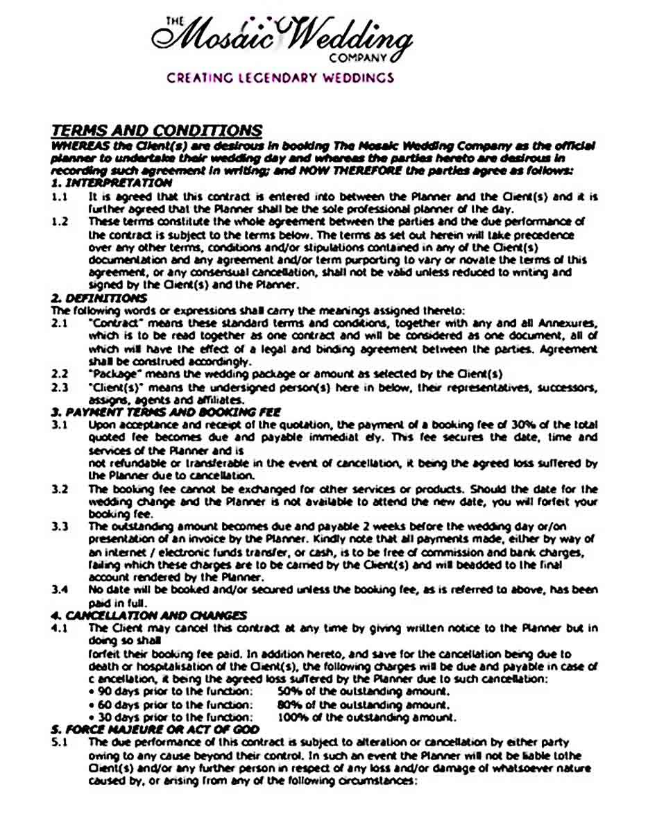 Wedding Planner Contract Terms and Conditions