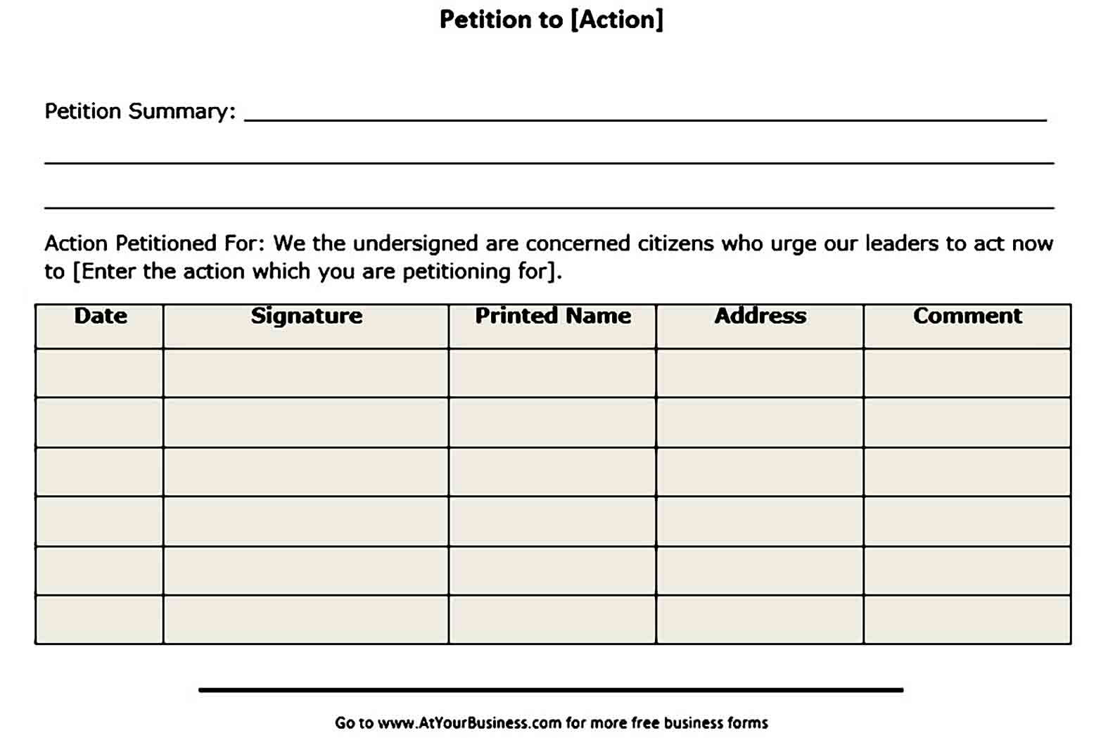 blank petition templates