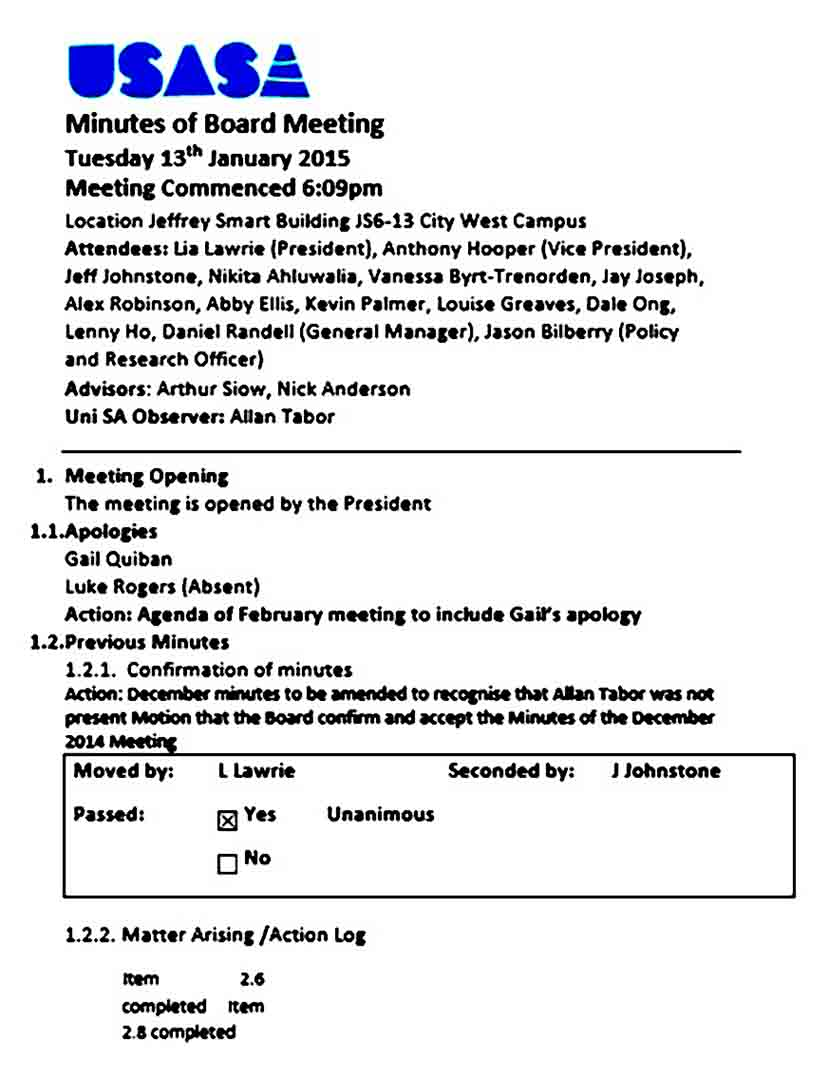 board meeting agenda outline