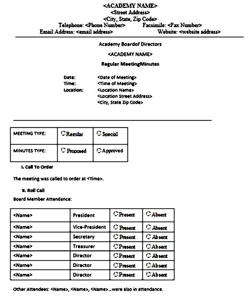 board meeting minutes templates
