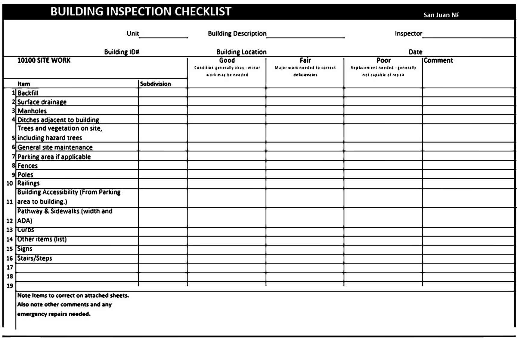 building inspection checklist templates