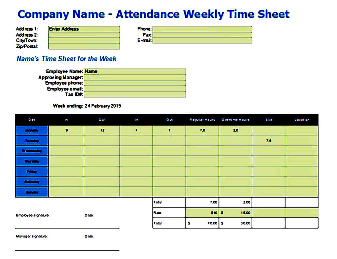 company weekly attendance sheet