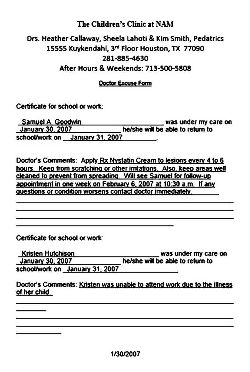 doctor note templates
