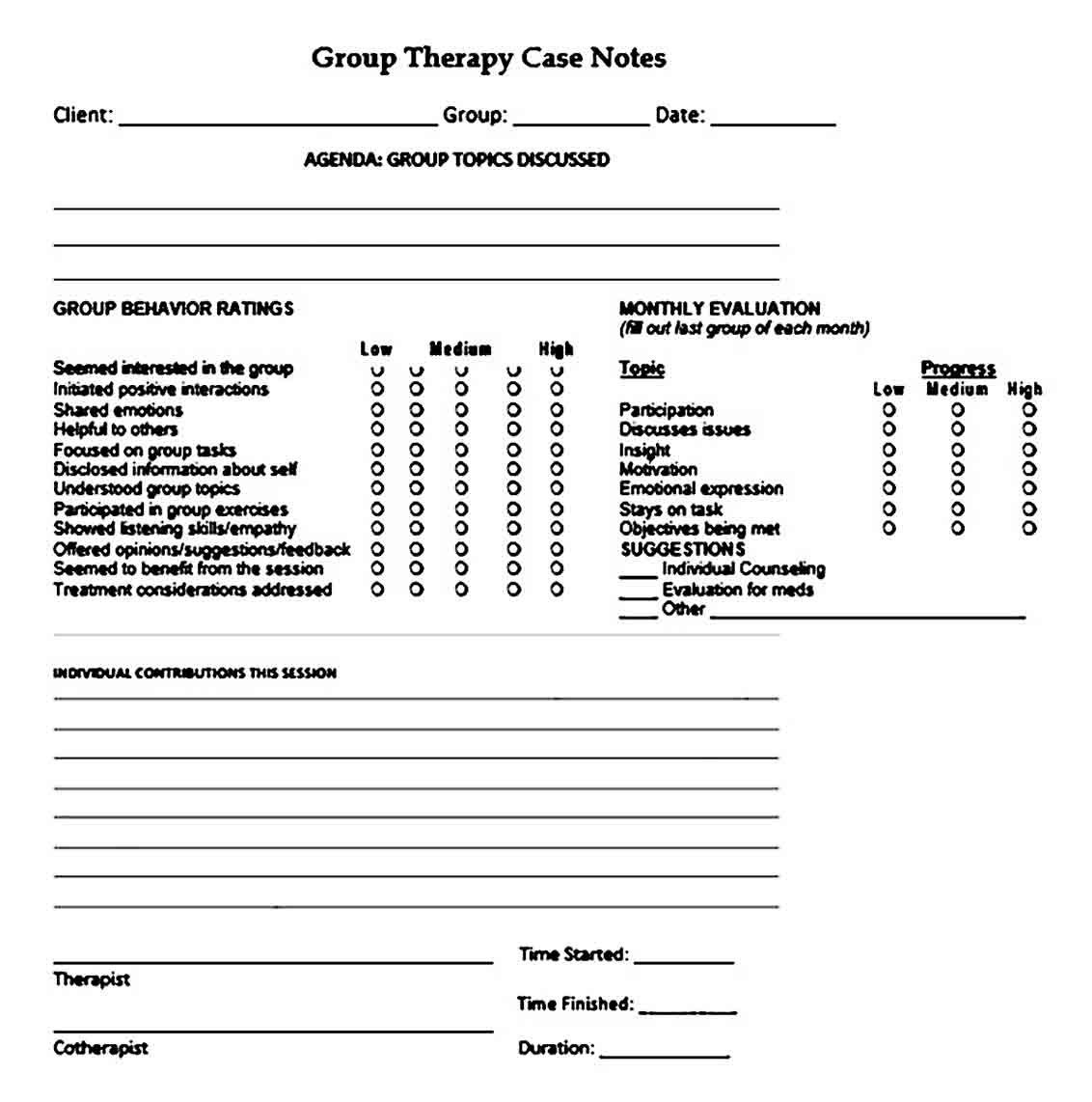 group therapy note templates