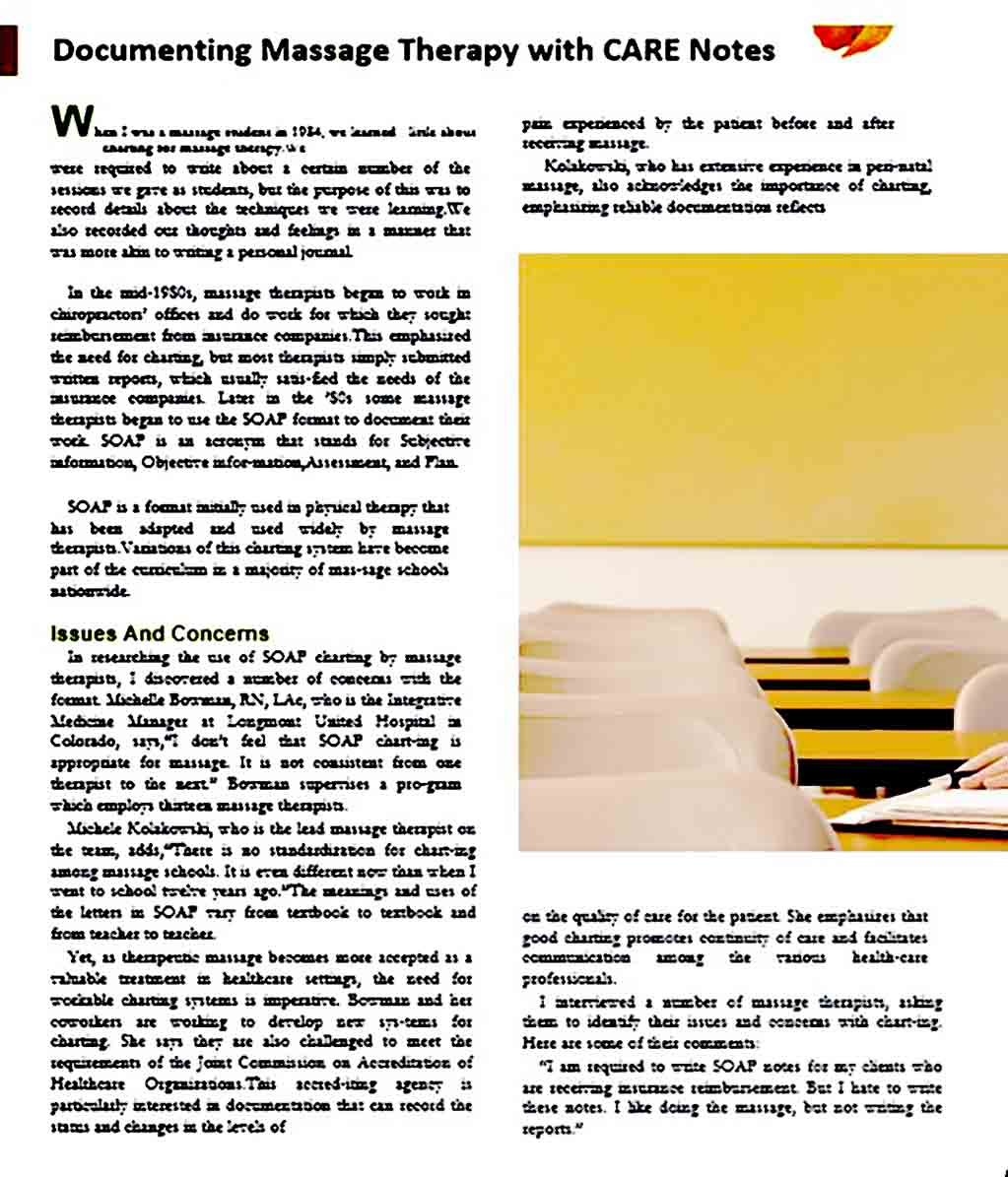 massage therapy note templates