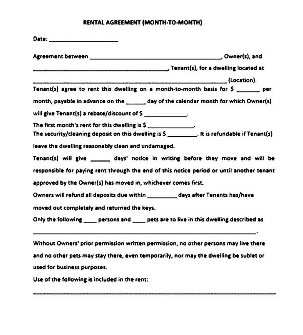 month to month room rental agreement