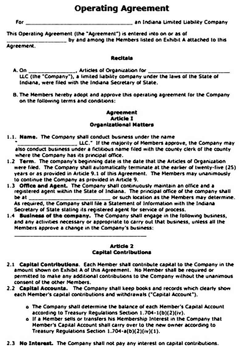 operating agreement templates word1