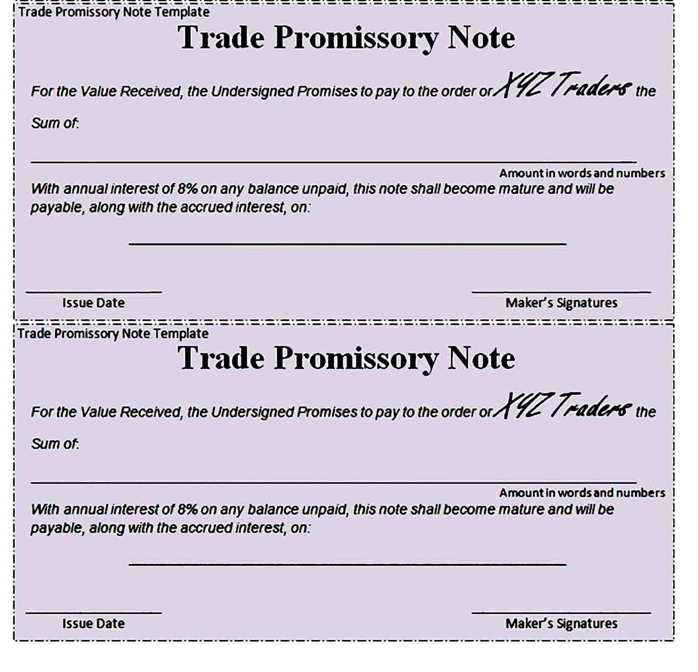 promissory note template 34