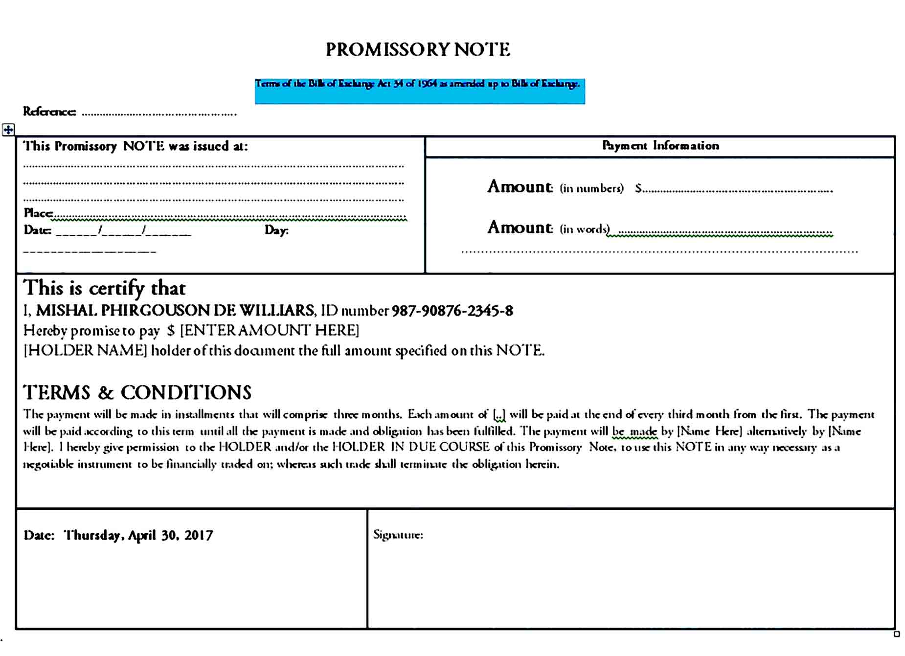 promissory note template 36