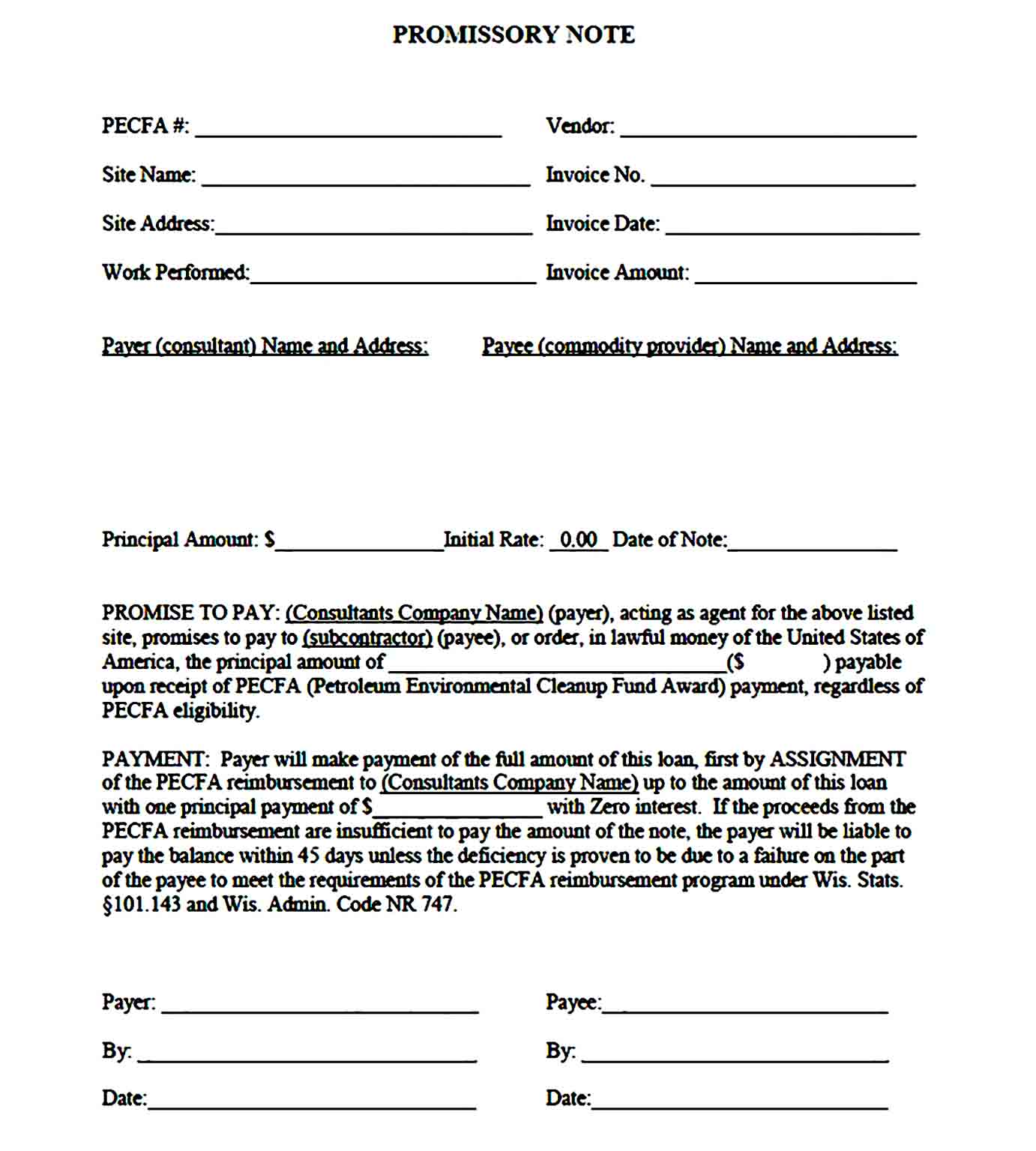 promissory note template 41