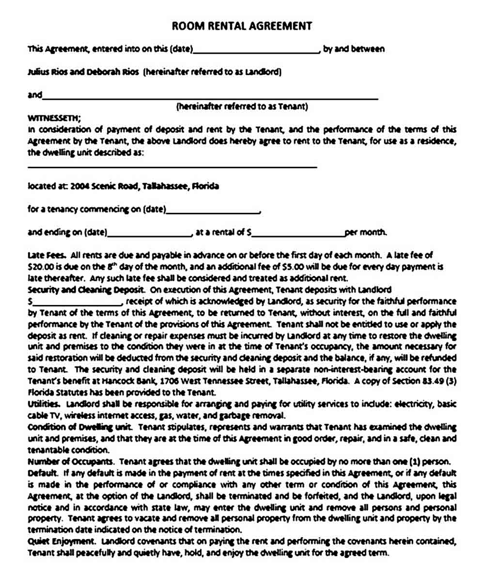 sample room rental agreement