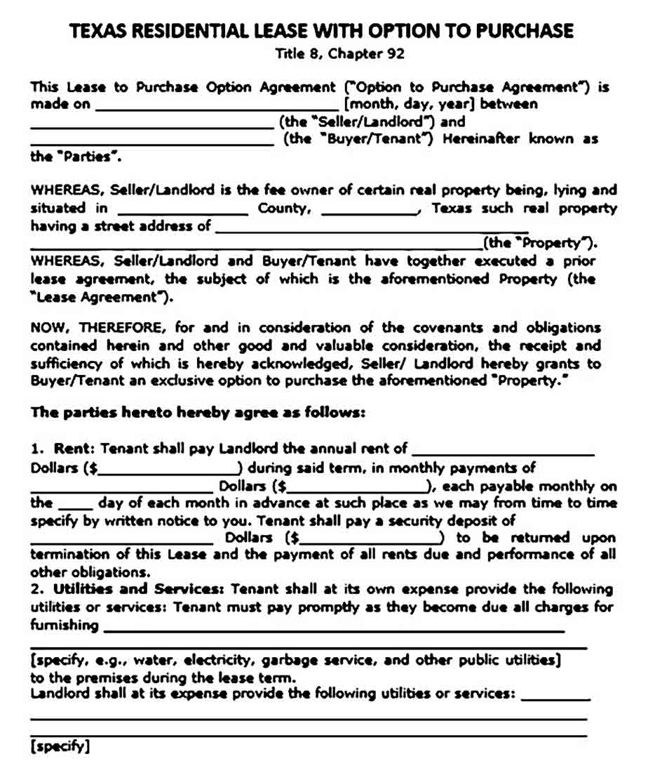 texas residential lease agreement option to purchase