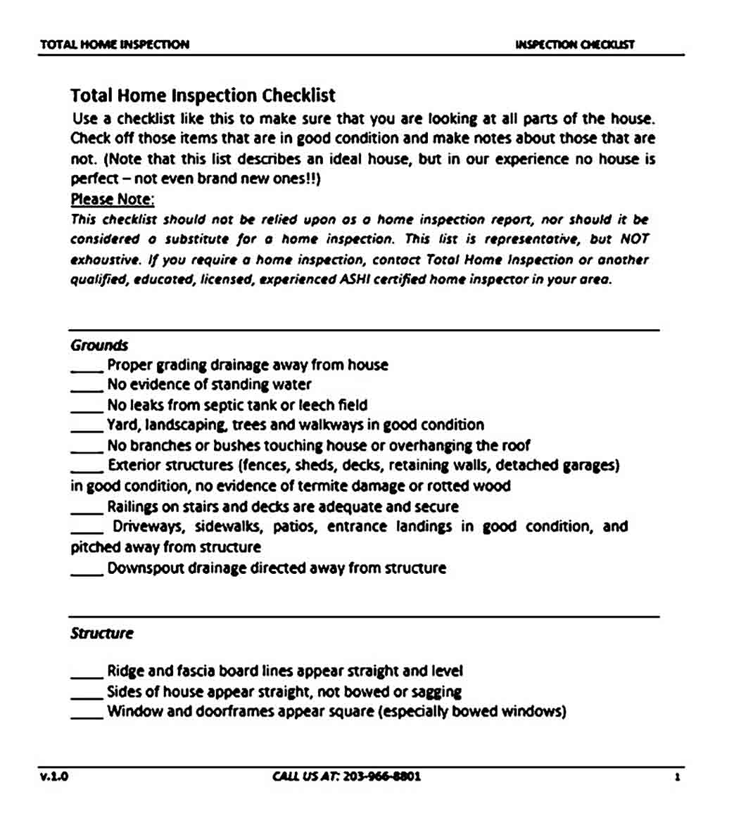 total home inspection sample checklist